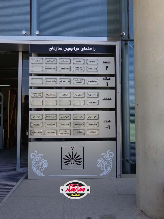 تابلو راهنمای استند آلومینیوم کامپوزیت و پلکسی گلاس – کتابخانه اسناد ملی فارس
