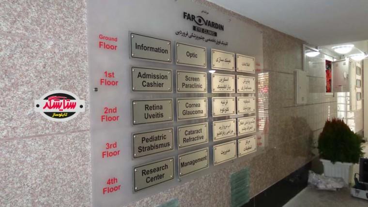 تابلو راهنمای پلکسی گلاس و آلومینیوم کامپوزیت – کلینیک چشم فروردین